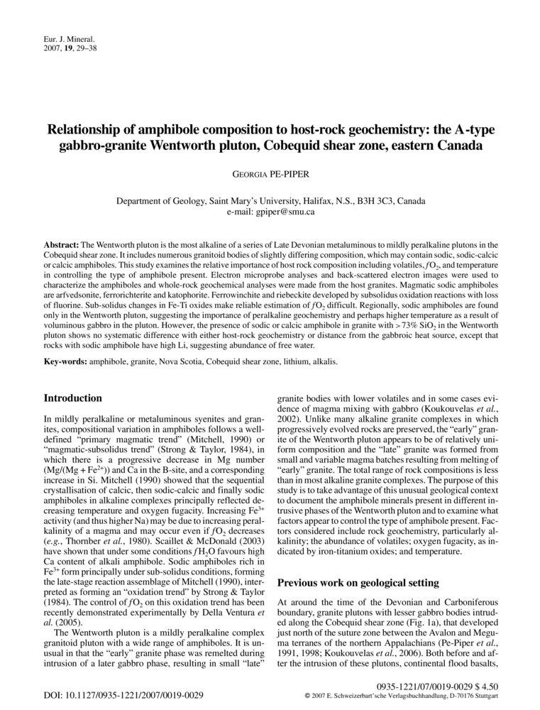 Relationship of amphibole composition to host-rock