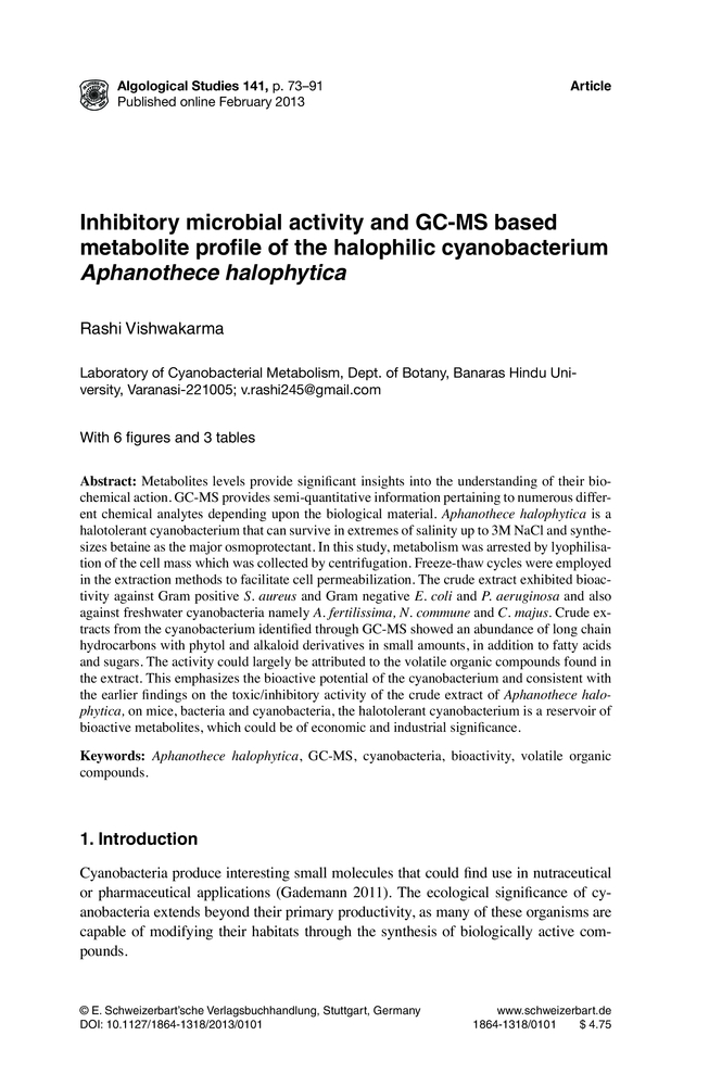 Inhibitory microbial activity and GC-MS based metabolite
