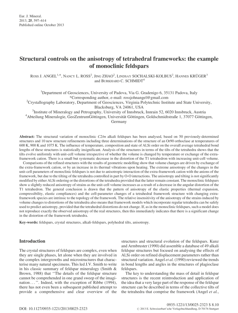 Structural controls on the anisotropy of tetrahedral