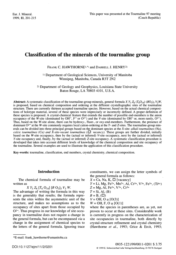 classification of the minerals of the tour ne group european  hawthorne frank c henrys darrell j