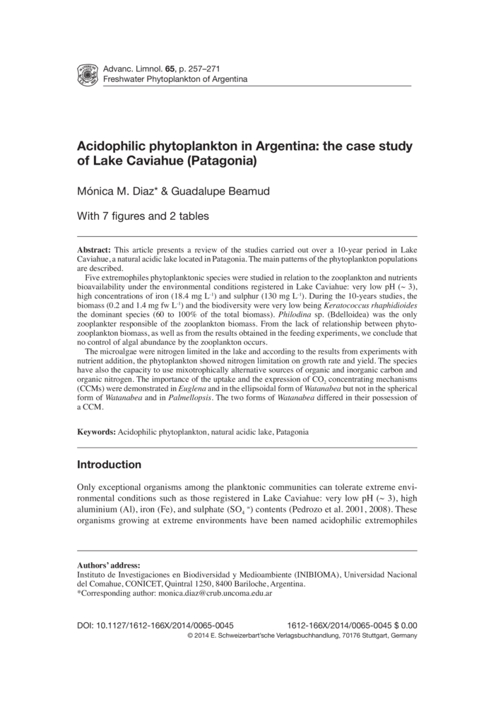 acidophilic phytoplankton in argentina the case study of lake caviahue patagonia