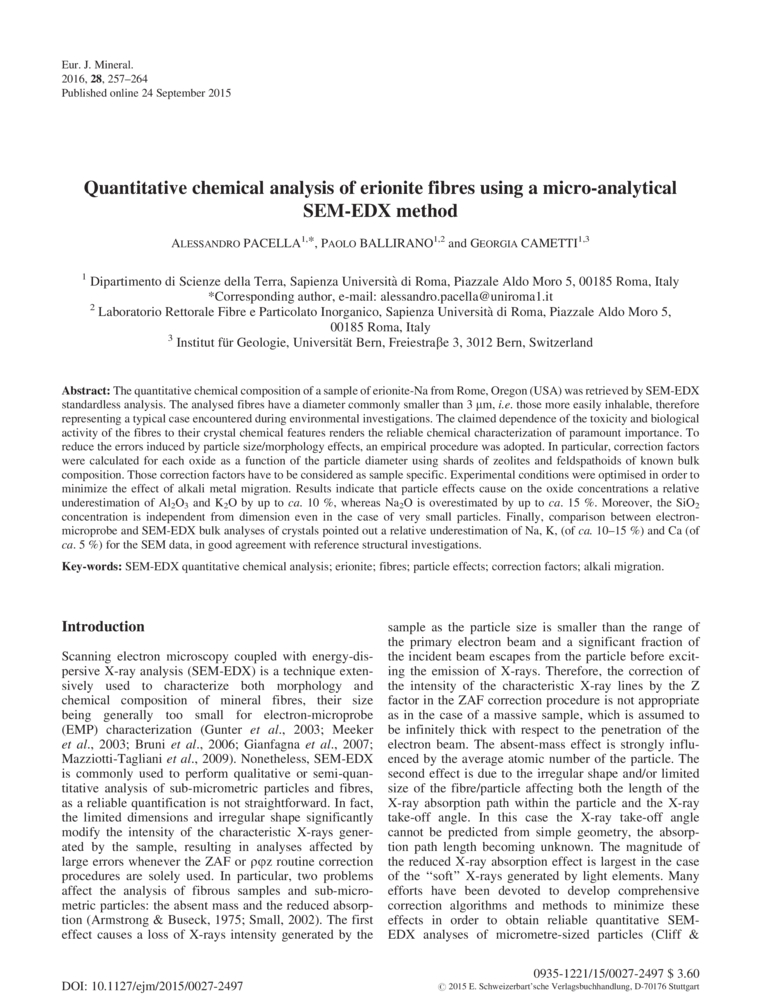 Quantitative Chemical Analysis Of Erionite Fibres Using A Micro