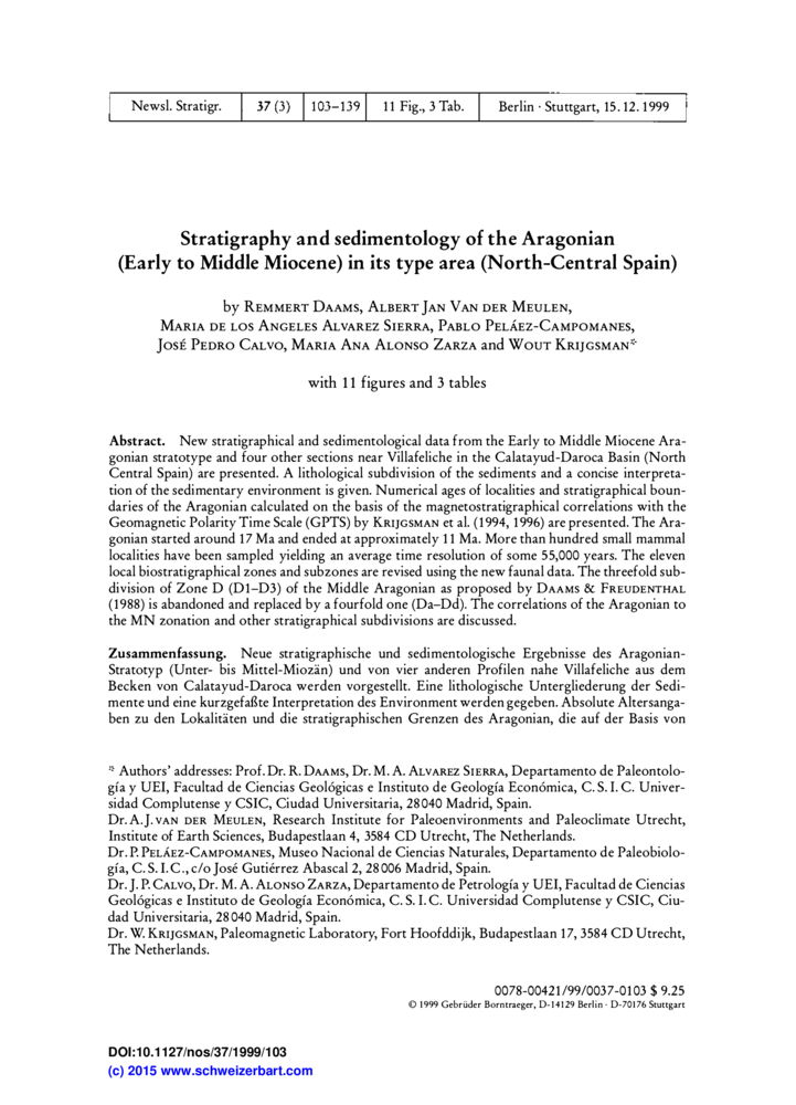 stratigraphy and sedimentology of the aragonian early to middle miocene in its type area north central spain - Zusammenfassung Ben