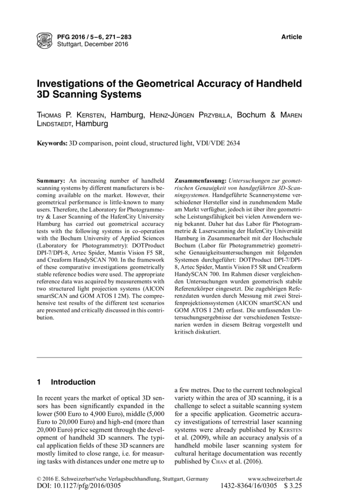 Investigations of the Geometrical Accuracy of Handheld 3D