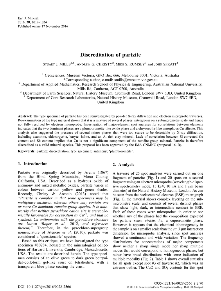 Discreditation of partzite - European Journal of Mineralogy Volume