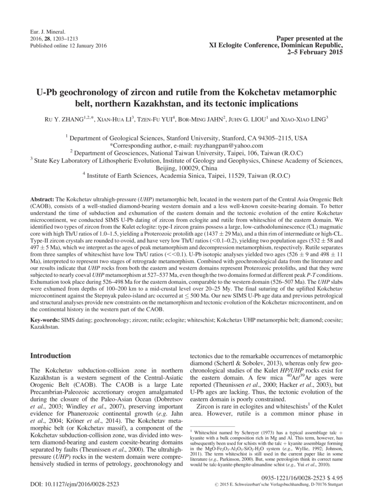 Isotopic dating in metamorphic belts department