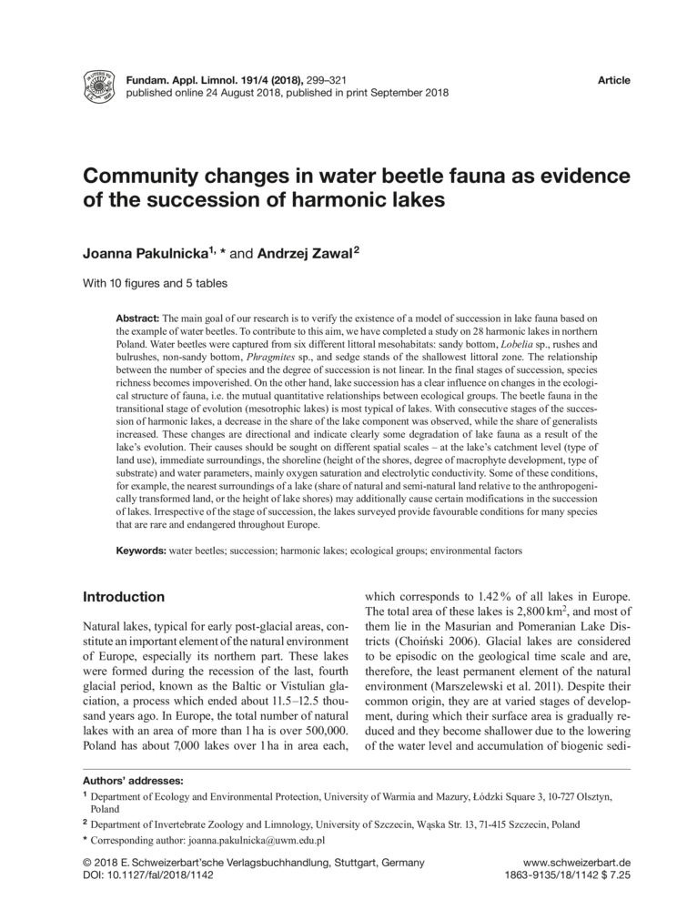 Community changes in water beetle fauna as evidence of the